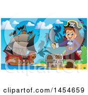 Cartoon Pirate Girl Holding A Sword By A Treasure Chest On An Island