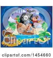 Cartoon Sailing Pirate Ship With A Parrot Near A Treasure Chest In A Cave