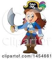 Clipart Graphic Of A Cartoon Pirate Girl Holding A Sword Royalty Free Vector Illustration