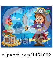 Cartoon Pirate Girl Holding A Sword By A Treasure Chest In A Cave