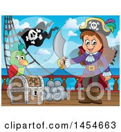 Cartoon Pirate Girl Holding A Sword By A Treasure Chest On Deck