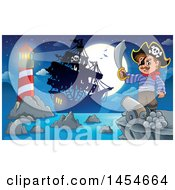 Cartoon Pirate Holding A Sword On A Cliff With A Cannon Overlooking A Pirate Ship Lighthouse And Full Moon