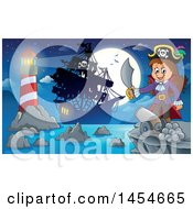 Cartoon Pirate Girl Holding A Sword Against A Full Moon Ship And Lighthouse