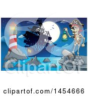 Clipart Graphic Of A Cartoon Pirate Holding A Lantern On A Cliff With A Cannon Overlooking A Pirate Ship Lighthouse And Full Moon Royalty Free Vector Illustration