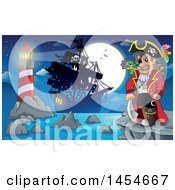 Cartoon Pirate Captain On A Cliff Overlooking A Pirate Ship Lighthouse And Full Moon