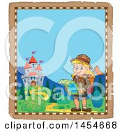 Poster, Art Print Of Parchment Border Of A Hiking Scout Girl Reading A Map Near A Castle