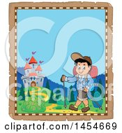 Clipart Graphic Of A Parchment Border Of A Happy Boy Hiking With Poles Royalty Free Vector Illustration