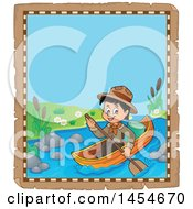 Clipart Graphic Of A Parchment Border Of A Happy Scout Boy Rowing A Boat Royalty Free Vector Illustration