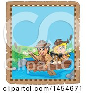 Parchment Border Of A Happy Scout Boy Rowing A Boat With A Girl And Dog On Boad