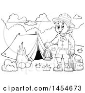 Clipart Graphic Of A Black And White Scout Boy Holding A Lantern And Backpack At A Camping Site Royalty Free Vector Illustration