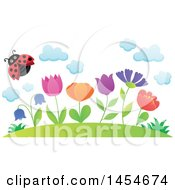 Clipart Graphic Of A Row Of Spring Flowers Growing On A Hill And A Flying Ladybug Royalty Free Vector Illustration