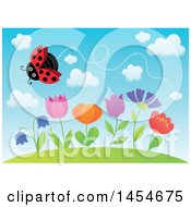 Clipart Graphic Of A Row Of Spring Flowers Growing On A Hill And A Flying Ladybug Against Blue Sky Royalty Free Vector Illustration
