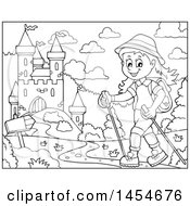 Clipart Graphic Of A Black And White Happy Girl Hiking Near Castle With Poles Royalty Free Vector Illustration
