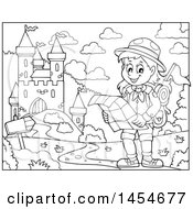 Clipart Graphic Of A Black And White Hiking Scout Girl Reading A Map Near A Castle Royalty Free Vector Illustration