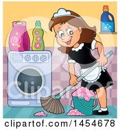 Happy Brunette White Female Maid Mopping In A Laundry Room