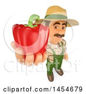 Poster, Art Print Of 3d Farmer Man Holding Up A Red Bell Pepper On A White Background