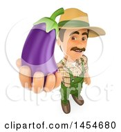 3d Farmer Man Holding Up A Purple Eggplant On A White Background