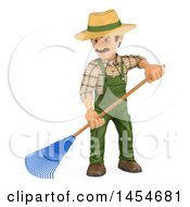 Clipart Graphic Of A 3d Gardener Man Using A Rake On A White Background Royalty Free Illustration by Texelart