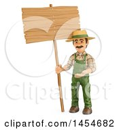 Clipart Graphic Of A 3d Gardener Man With A Blank Sign On A White Background Royalty Free Illustration by Texelart
