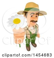 Clipart Graphic Of A 3d Gardener Man Holdig Up A Daisy Flower On A White Background Royalty Free Illustration by Texelart