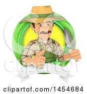 Clipart Graphic Of A 3d Gardener Man Holding A Spade In A Green Circle Logo With A Blank Banner On A White Background Royalty Free Illustration by Texelart