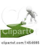 Poster, Art Print Of 3d White Man Landscaper Painting Green Grass On A White Background