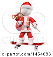 Clipart Graphic Of A 3d White Man Christmas Santa Skateboarding On A White Background Royalty Free Illustration