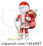 Clipart Graphic Of A 3d White Man Christmas Santa Reading A List On A White Background Royalty Free Illustration