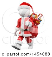 Clipart Graphic Of A 3d White Man Christmas Santa Carrying A Sack On A White Background Royalty Free Illustration