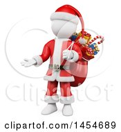 Clipart Graphic Of A 3d White Man Christmas Santa Presenting On A White Background Royalty Free Illustration