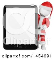 Clipart Graphic Of A 3d White Man Santa Presenting A Tablet With A Blank Screen On A White Background Royalty Free Illustration