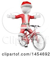 Clipart Graphic Of A 3d White Man Christmas Santa Riding A Bicycle With No Hands On A White Background Royalty Free Illustration
