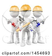 Poster, Art Print Of 3d White Man Contractor Team Holding Tools On A White Background