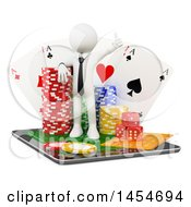 3d White Man With Casino Poker Chips Dice And Playing Cards On Top Of A Tablet Computer On A White Background