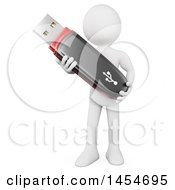 Clipart Graphic Of A 3d White Man Holding A Usb Flash Drive On A White Background Royalty Free Illustration by Texelart