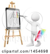 Clipart Graphic Of A 3d White Man Artist Painting On A Tablet Computer On A White Background Royalty Free Illustration