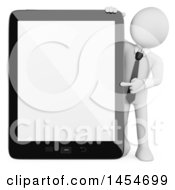 Clipart Graphic Of A 3d White Business Man Pointing To A Blank Tablet Computer Screen On A White Background Royalty Free Illustration by Texelart