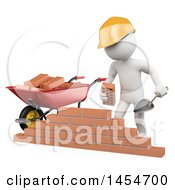 3d White Man Mason Stacking Bricks On A White Background