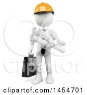 3d White Man Engineer Carrying A Briefcase And Blueprints On A White Background