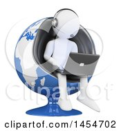 Clipart Graphic Of A 3d White Man Customer Service Rep Using A Laptop In A Globe Chair On A White Background Royalty Free Illustration