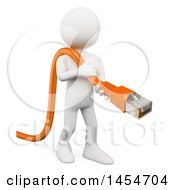 Clipart Graphic Of A 3d White Man Connecting To A Computer Network With An Ethernet Cable On A White Background Royalty Free Illustration