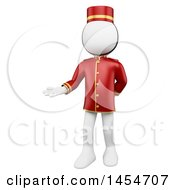 Clipart Graphic Of A 3d White Man Hotel Worker Bellboy Welcoming On A White Background Royalty Free Illustration by Texelart
