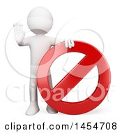 Clipart Graphic Of A 3d White Man With A Forbidden Sign On A White Background Royalty Free Illustration