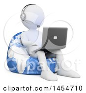 Clipart Graphic Of A 3d White Man Customer Service Rep Using A Laptop On A Globe Bean Bag Chair On A White Background Royalty Free Illustration