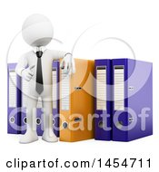 Clipart Graphic Of A 3d White Business Man With Binders On A White Background Royalty Free Illustration