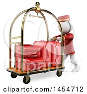 Clipart Graphic Of A 3d White Man Hotel Worker With A Luggage Cart On A White Background Royalty Free Illustration