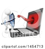Clipart Graphic Of A 3d White Man Fighting A Computer Virus On A White Background Royalty Free Illustration