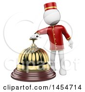 Clipart Graphic Of A 3d White Man Hotel Worker Ringing A Bell On A White Background Royalty Free Illustration