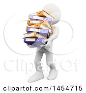 Clipart Graphic Of A 3d White Man Carrying Binders On A White Background Royalty Free Illustration