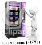 Clipart Graphic Of A 3d White Man Using An Apps Vending Machine On A White Background Royalty Free Illustration